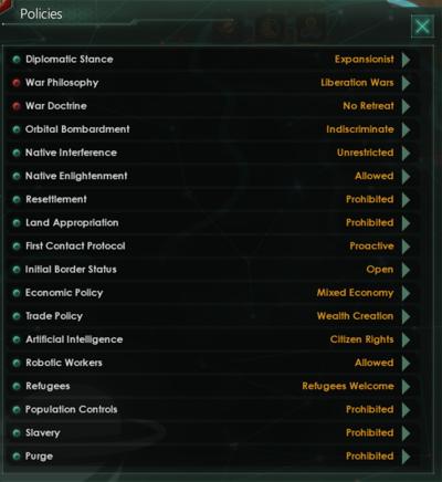 Policies - Stellaris Wiki